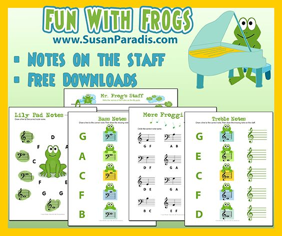Frog Notes on the Staff Frog Treble and Bass Notes I hope you didn't give up on me posting the final set in the Fun With Frogs series. I was out-of-townseveral days, meeting all the wonderfu…