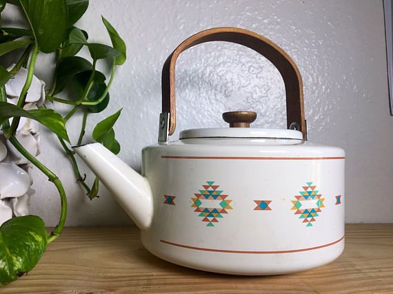 Vintage Southwestern Teapot, Tea Kettle worh Wood Handle
