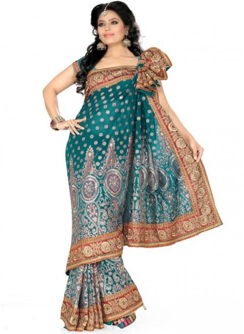 Majesty Sea Green Color Faux Georgette Based Embroidered #Saree