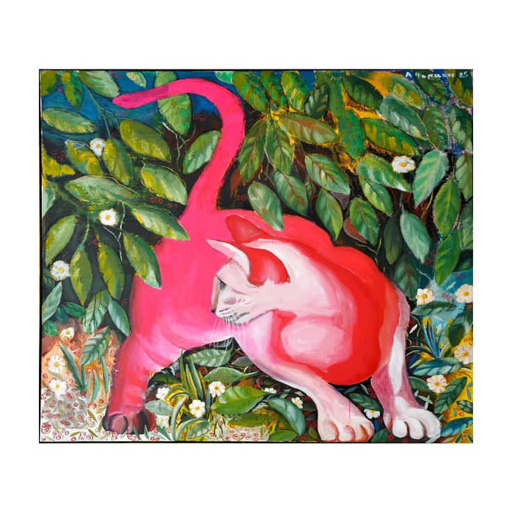 """acrylic ORIGINAL painting of a cat original cat painting mixed media original animal painting cat pink green yellow. 68x68"""", 173x173cm by ArchStudioGallery on Etsy"""