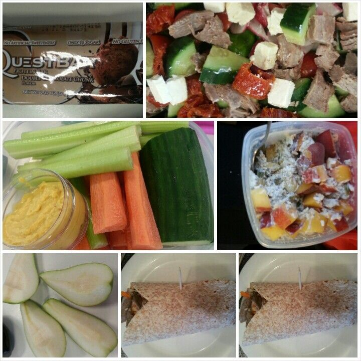 9 Feb 15  B: overnight oats S: quest bar and a small pear L: lamb, sundried tomato and feta salad S: veggies and hummus D: 2 wraps - 1 vegetarian and 1 lamb