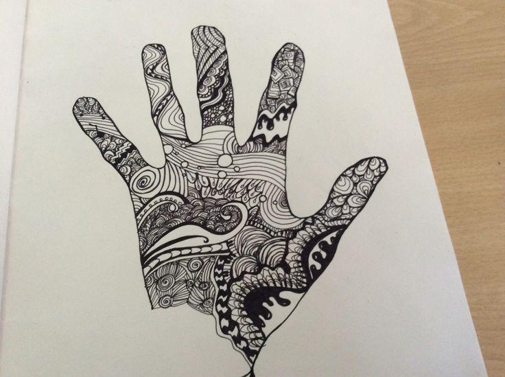 A doodle hand. Black pen. Doodle. Zentangle. Zendoodle