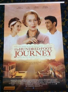 The Hundred Foot Journey Authentic Movie Poster  A story centered on an Indian family who moves to France and opens an eatery across the street from a Michelin-starred French restaurant run by Madame Mallory.  Director: Lasse Hallström   Writers: Steven Knight     Richard C. Morais                     Stars: Helen Mirren,  Manish Dayal,  Rohan Chand                            Drama  India
