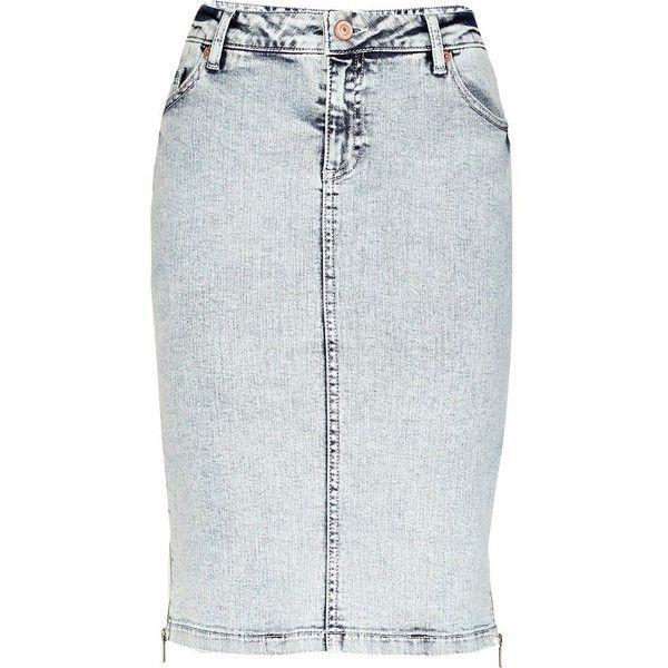 River Island Light acid wash denim pencil skirt ($19) ❤ liked on Polyvore featuring skirts, skirts/dresses, sale, zip pencil skirt, river island, zipper pencil skirt, denim pencil skirt and pocket skirt