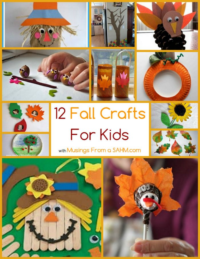 12 Fall Crafts for Kids #thanksgivingKids Thanksgiving, Fall Fun Crafts For Kids, Fall Art And Crafts For Kids, Crafts Ideas, Childrens Fall Art Projects, Fall Class Decorations Schools, Kids Crafts, Fun Fall Projects For Children, 12 Fall Crafts For Kids