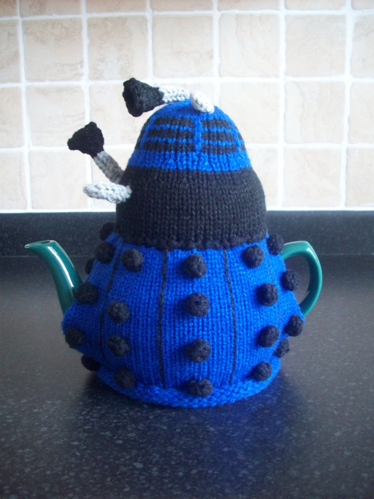 Knitted Tea Cosy Cozy Cosie Dalek Dr who Shabby Chic. £13.99, via Etsy.