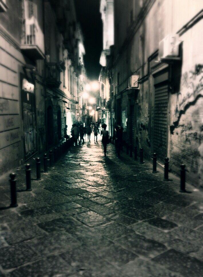 Walking down towards piazza del Gesu - Naples, Italy