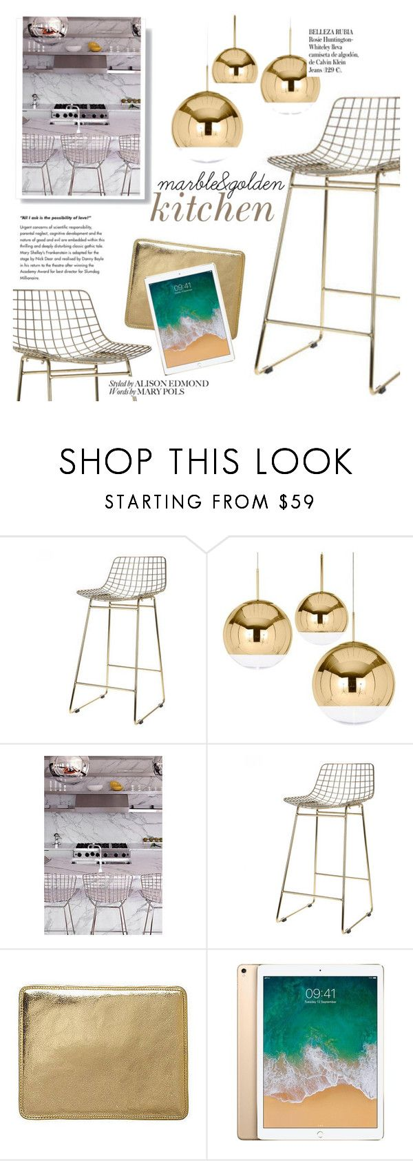 """""""marble&gold kitchen"""" by cielshopinteriors ❤ liked on Polyvore featuring interior, interiors, interior design, home, home decor, interior decorating, Tom Dixon, Apple, Whiteley and kitchen"""