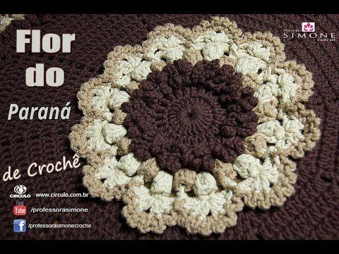 Flor de crochê - Paraná - passo a passo - Professora Simone #Crochet