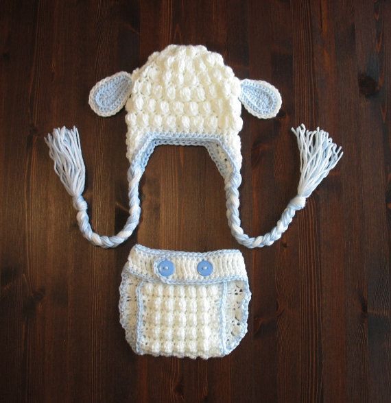 Newborn Lamb Hat and Diaper Cover Easter Boys by DeesCozyCreations