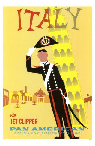 Italy: Fun font and illustration (Vintage travel poster)