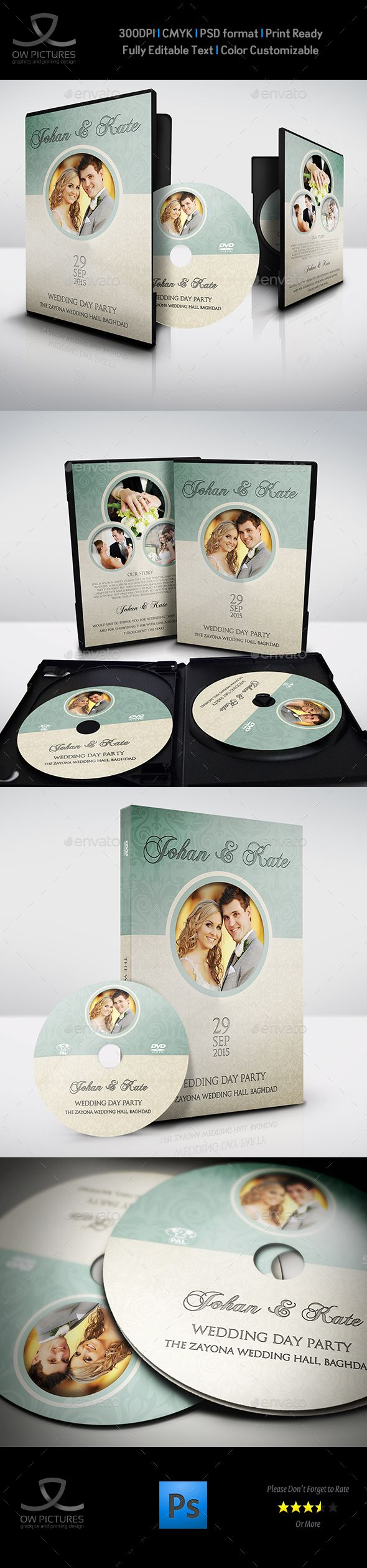 Wedding DVD Cover and DVD Label Design Template Vol.8 - CD & DVD Artwork Print Template PSD. Download here: https://graphicriver.net/item/wedding-dvd-cover-and-dvd-label-template-vol8/17681263?ref=yinkira