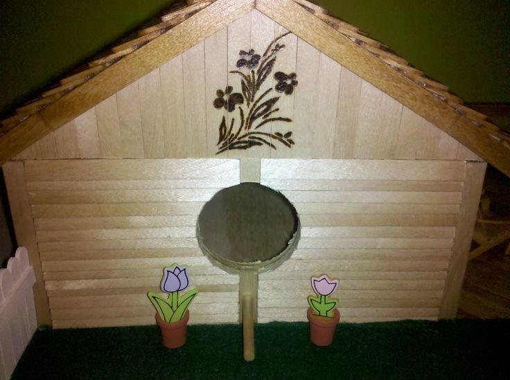popsicle stick bird house | 800 Popsicle Stick Birdhouse w/ Mini Adirondack Furniture