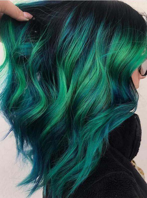 Dark Blue And Dark Green Hair Blue Green Hair Dark Green Hair Hair Color Blue