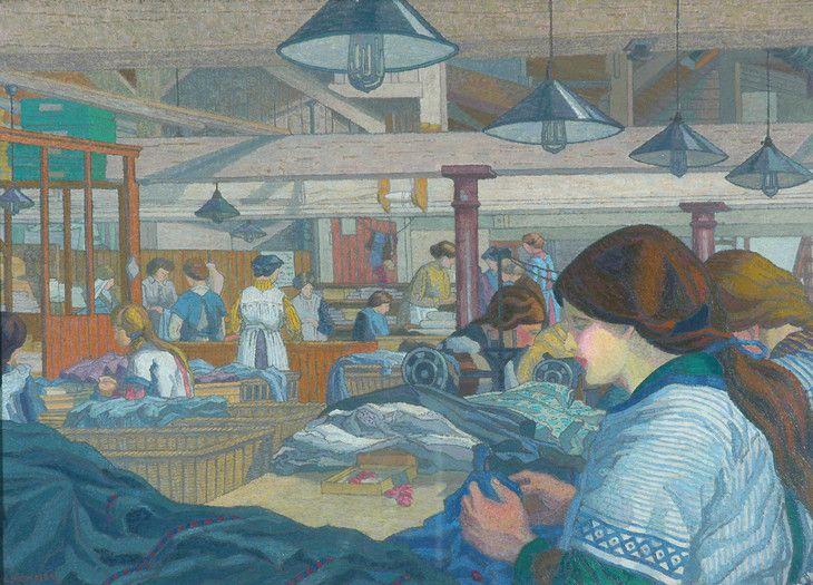 Charles Ginner 'The Dressmaking Factory' c.1914