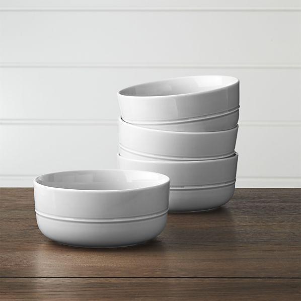 Set of 4 Hue Light Grey Bowls | Crate and Barrel