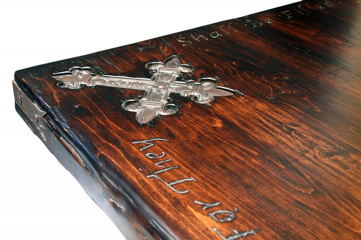 "3.5"" Thick Top, Heavy Distress, Dark Walnut, Cross Inlay, Scripture Carving, Heavy Distress Edge And Corner Strap Hinge made by Emmanuel Design Group"