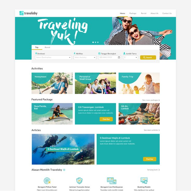 homepage design for traveloby.com