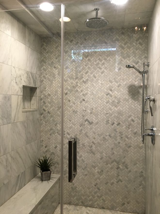 "Herringbone shower tile. Shower Tiles: Honed Carrara Marble 12"" X 12"" and Mosaic…"
