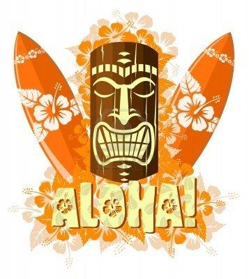 Vector illustration of orange tiki mask with surf boards, and hand drawn text Aloha Stock Photo - 6080012
