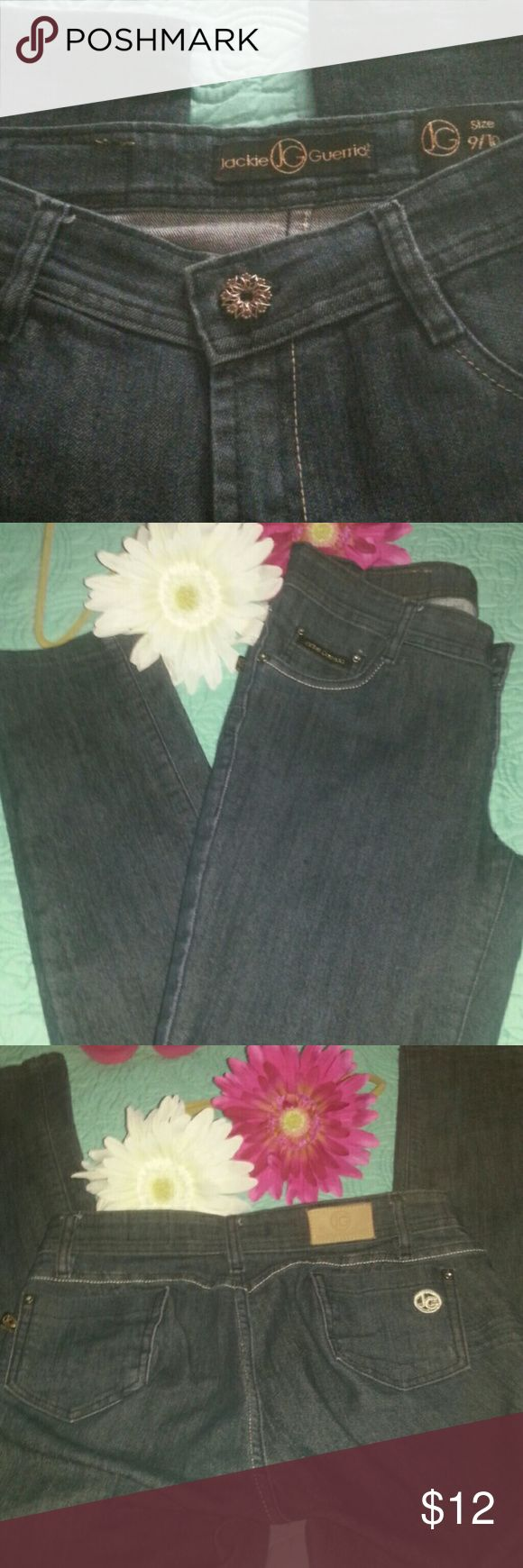 Jackie Guerrido dark wash skinny jeans Like new jeans, inseam 32, roomy rear and lots of stretch Jackie Guerrido Jeans Skinny