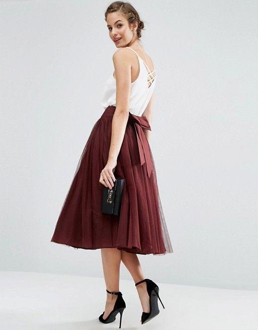 Oxblood tulle skirt, bridesmaids $53