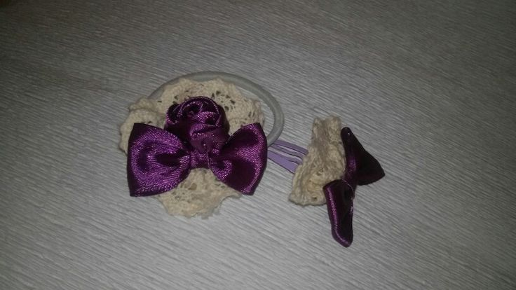 Hairclip Rustic rose and bow