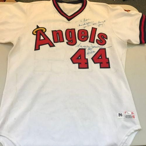 1984 Reggie Jackson California Angels Signed Game Used Jersey 500 HR Season - JSA Certified - MLB Autographed Game Used Jerseys * More info could be found at the image url.