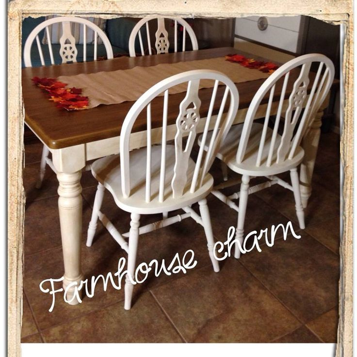 A Farmhouse Style Dining Room Table Finished In Old White Chalk Paint® Decorative  Paint By Annie Sloan And Dark Soft Wax Over Natural Wood