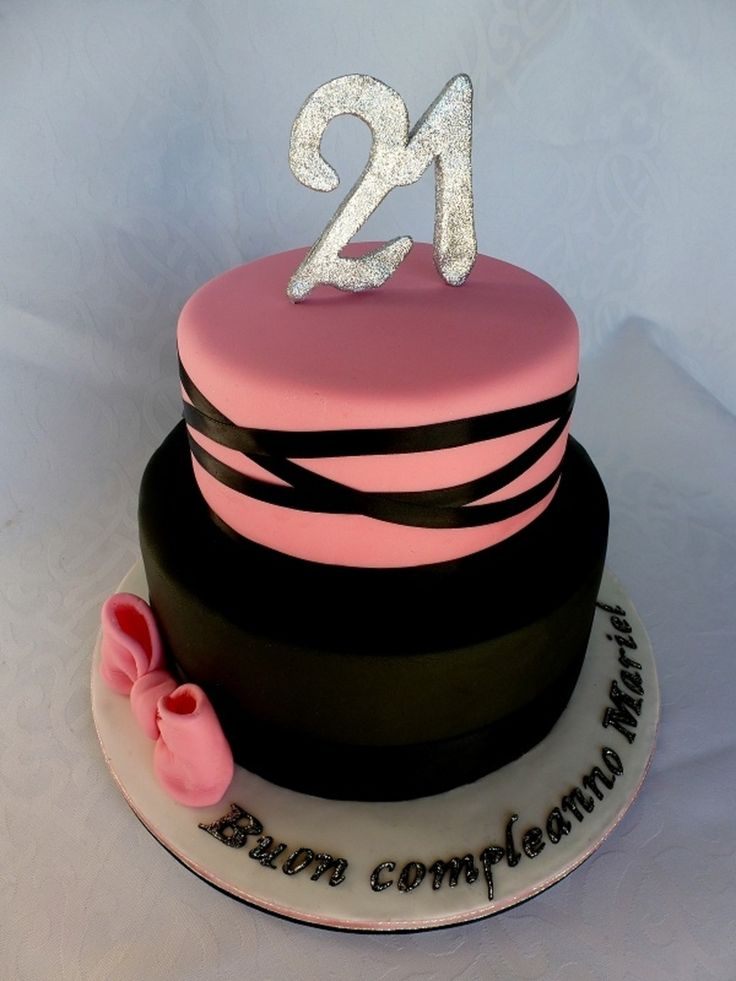 Pink And Black 21St Birthday Cake