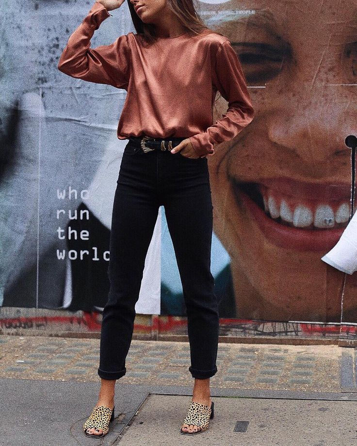 Pink copper silk top, black jeans & leopard print slides | @styleminimalism