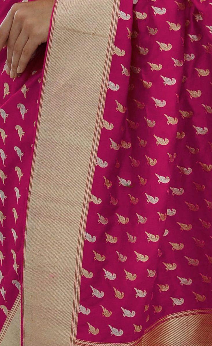 Rani Pink Sona Roopa Zari Parrot Motif Hand Woven Pure Silk Saree