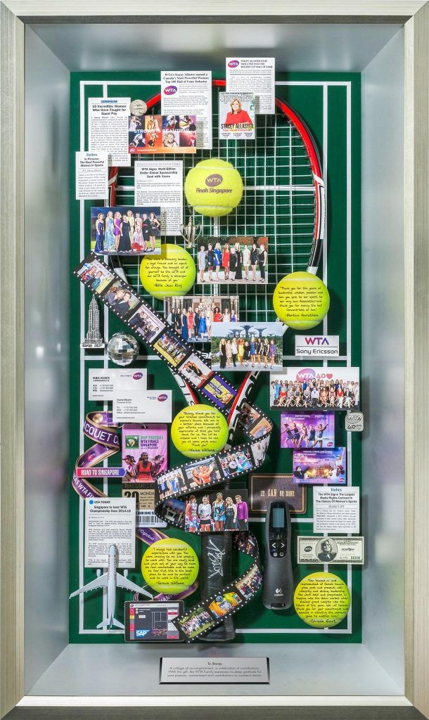 Women's Tennis Association Executive Tribute – the structure of this 3-dimensional art replicates a tennis court and it includes an actual tennis racket and tennis ball. Message of appreciation to the outgoing CEO of WTA are on tennis balls, and a filmstrip highlights photos from major events. www.oneofakindinc.com | 301-495-3361 ext. 102 | donna@oneofakindinc.com