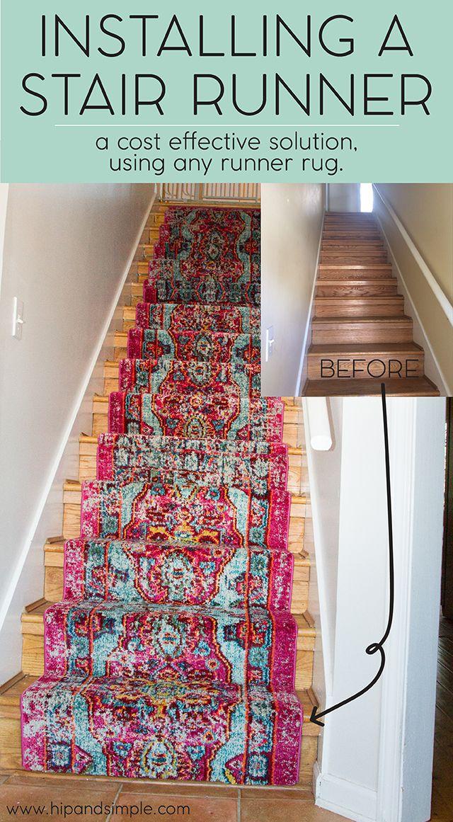 A cost effective DIY idea on using a regular rug runner as a stair runner.