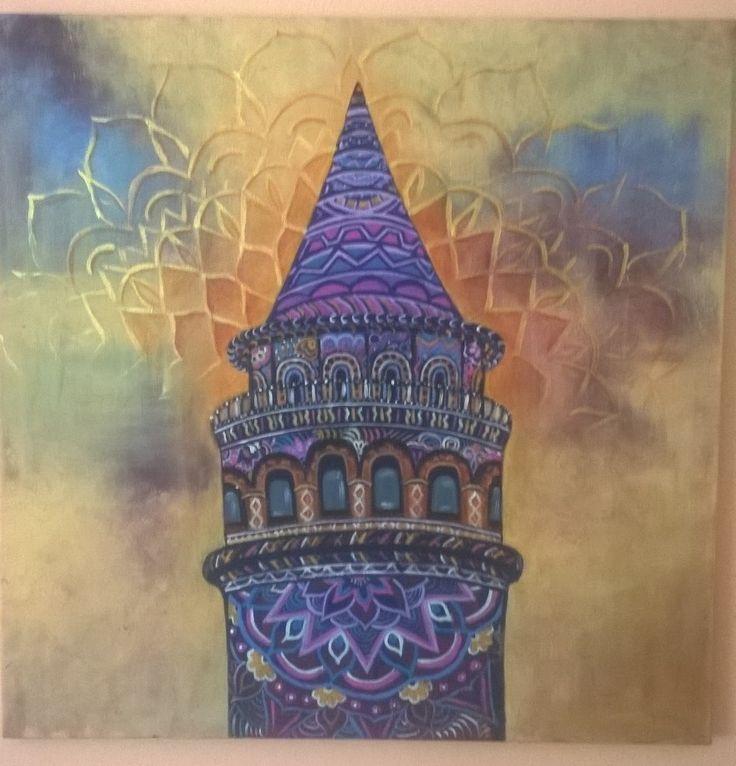 galata kulesi zentangle akrilik  boya 70x70 tuval canvas