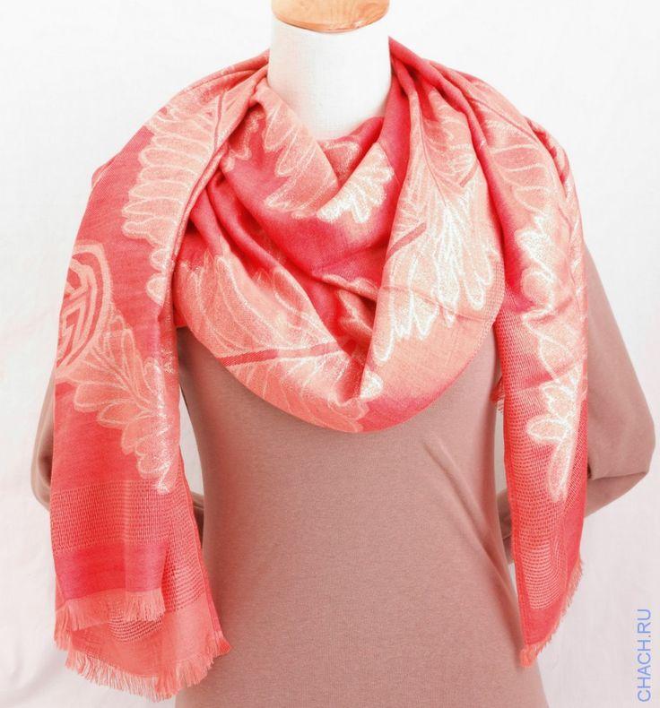 Длинный шарф Gucci кораллового цвета с золотистым люрексом