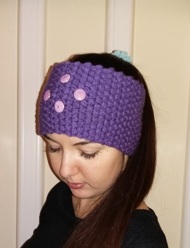 CROCHET HEADBAND PURPLE ear warmers women's fashion accessories gift for her by MarikaArt on Etsy