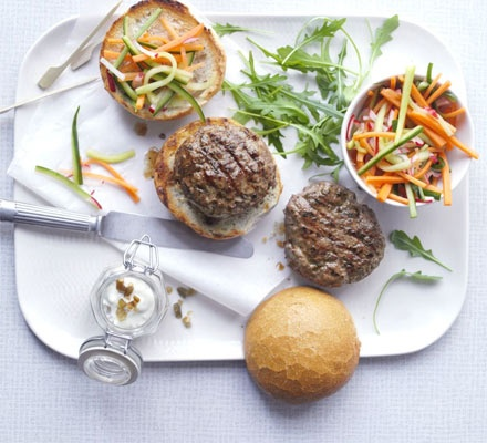 Wasabi-Spiked Burgers with Pickle Relish -- Top off any meal with B ...