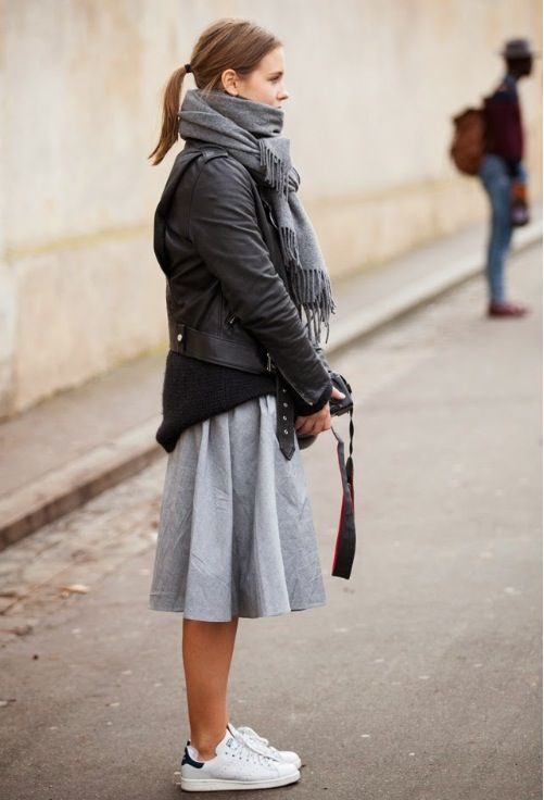 moto jacket, midi skirt, black sweater, grey scarf and adidas stan smiths.