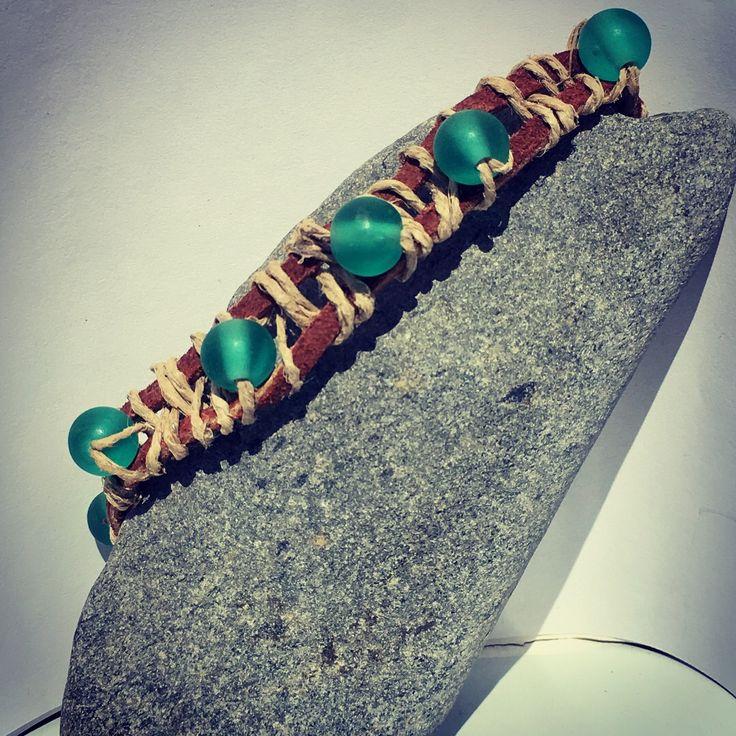 Hemp, Seude, & Czech Glass Bracelet from NyxStudioArt