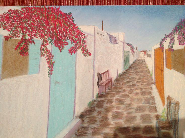 Mykonos Laneway Pastels