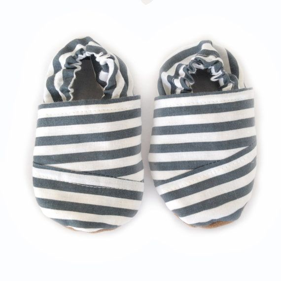 TOMS striped grey and white baby shoes gray baby by SolePretty