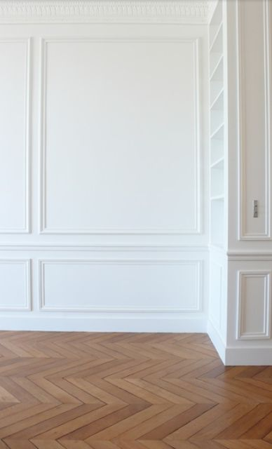 paneled walls with chair rail, herringbone floors, colors--all of it really.