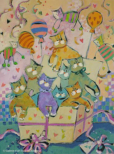 Claudette Castonguay, 'Une surprise pour ta fête...', 12'' x 16'' | Galerie d'art - Au P'tit Bonheur - Art Gallery