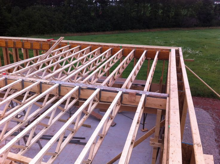 The second floor framing is supported by a rim joist for Wood floor joist bridging