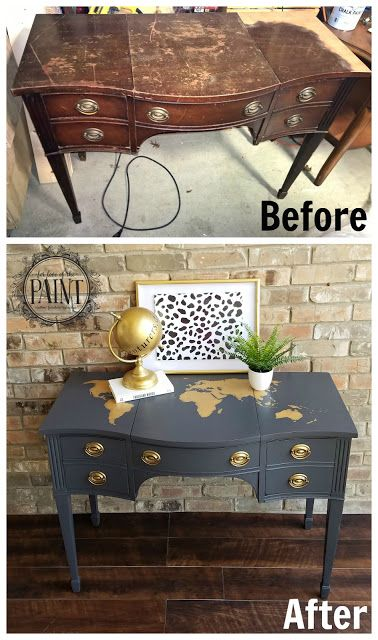 For Love of the Paint: FULL TUTORIAL : Vintage Desk / Vanity makeover with World Map Silhouette Detail using General Finishes Queenstown Gray Milk Paint and Modern Masters Matte Metallics Gold Rush. An amazing DIY / upcycle project for milk or chalk paint lovers!