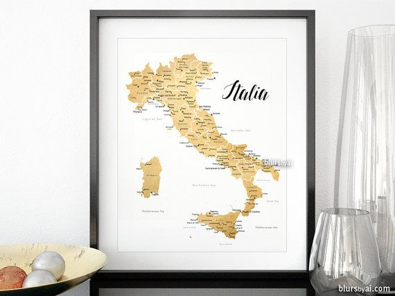 16x20 Printable map of Italy, gold Italy map with cities, Italia map, gold foil Italy map, nursery map, dorm decor gold map map054 008