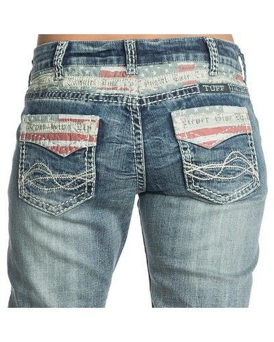 Show your patriotic side in these Cowgirl Tuff® Ladies' Flag of the Free Jeans www.eliswesternwear.com