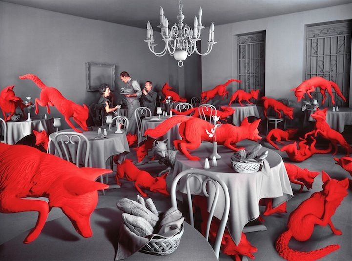 Decades before Photoshop was available, American artist Sandy Skoglund started creating surrealist images by building incredibly elaborate sets, a process which took months to complete. Her works are characterized by an overwhelming amount of one object and either bright, contrasting colors or a monochromatic color scheme....crazy