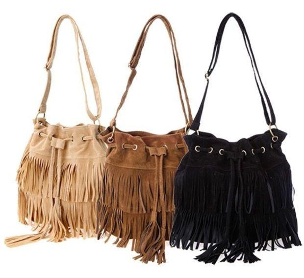 Faux Suede Fringe Tassel Shoulder Bag Women Handbags Messenger Bag SV013740|27701